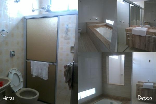 Banheiro da suíte - neste banheiro houve uma ampliação agregando o antigo banheiro e um dormitório. Criou-se um ambiente amplo com banheira. Tijolos de vidro permitem a iluminação direcionada à banheira