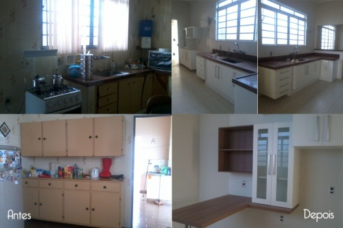 Cozinha - mobiliário com partes readaptados e partes novas. Faltando instalação dos pendentes e cadeiras.