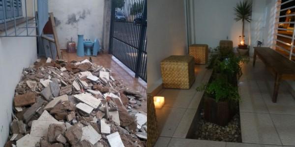 Jardim da fachada- antes e depois