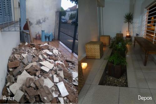 Jardim da fachada, antes e depois