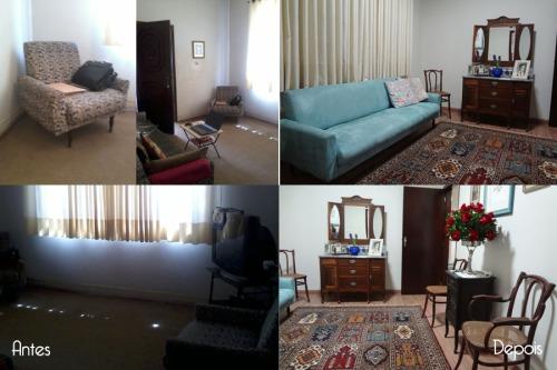 Sala - Reutilização e readaptação de mobiliário, troca do tecido do sofá, piso de madeira laminada