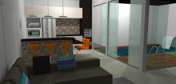 Área da cozinha vista da sala, ladrilhos hidráulicos Incefra