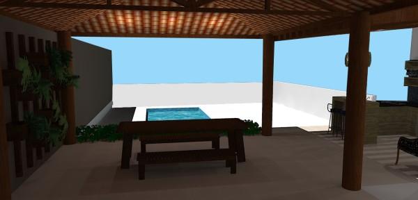 Vista da garagem para a área da piscina, mobiliário móvel nesta parte da varanda e treliça na parede para criar um jardim suspenso