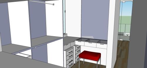 Estudo para o closet - penteadeira com tampo de vidro, gaveteiros móveis e nichos para acesso rápido aos produtos