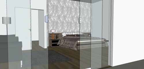 Suíte - tecido na parede da cabeceira da cama cria um espaço aconchegante e luxuoso