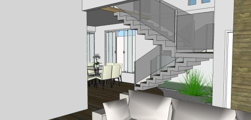 Vista da Sala de estar/tv para escada e sala de jantar