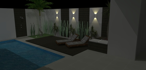 Área da piscina - deck de cumaru, espreguiçadeiras, cachepô de madeira (assento e floreira), composição no muro - painéis de cumaru, detalhes para as arandelas e jardim