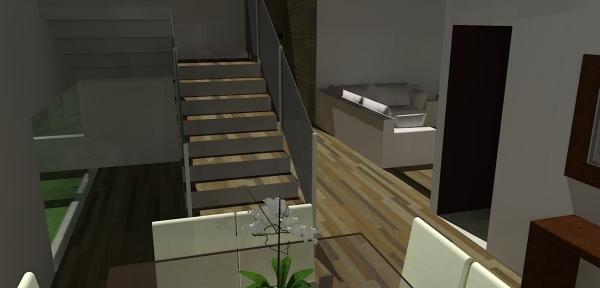 Vista da Sala de Jantar para a escada e ao fundo a sala de estar/tv