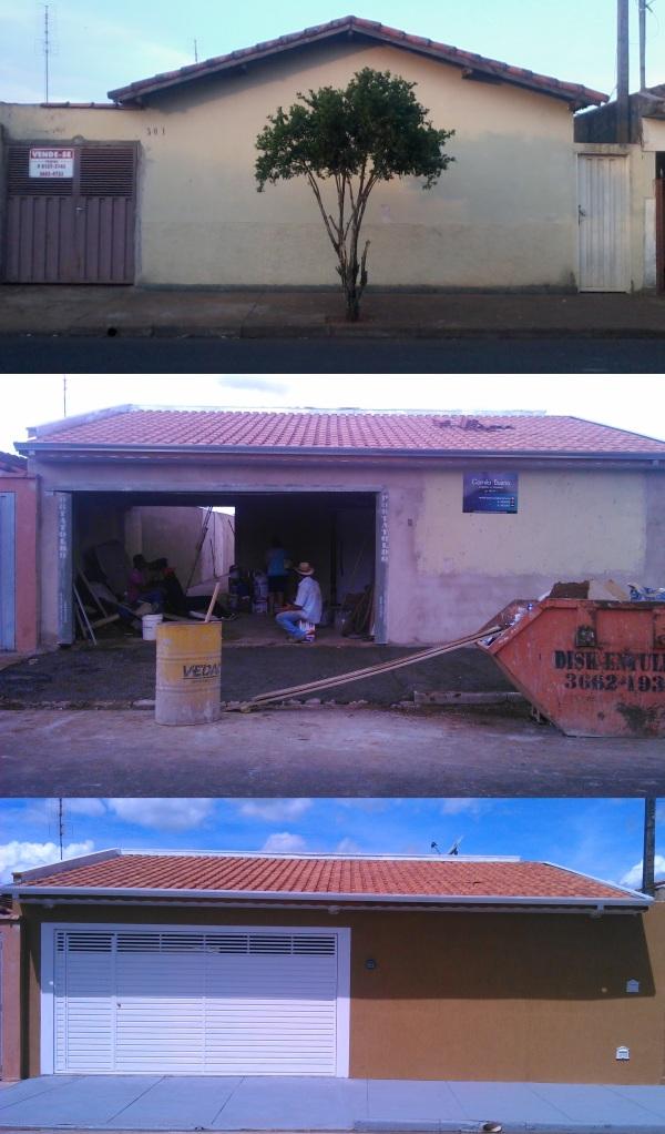 Fachada: antes, durante e depois