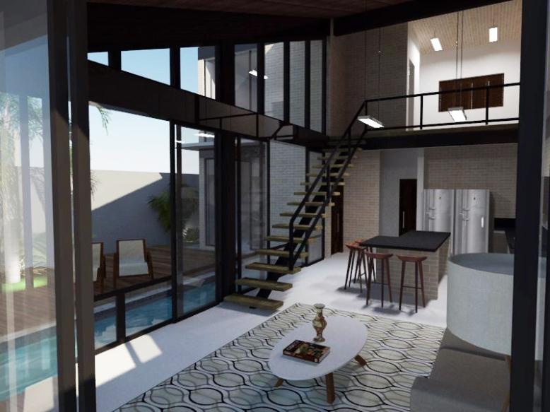 Vista interna da sala e cozinha
